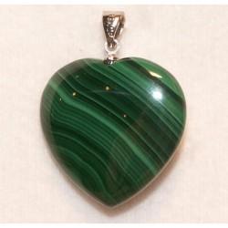 Grand pendentif coeur en malachite