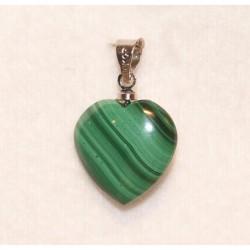 pendentif petit coeur en malachite de 15 mm