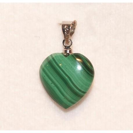 pendentif en forme de coeur en malachite de 15 mm