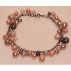 bracelet en acier chirurgical avec les perles de culture de Chine