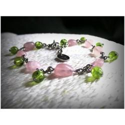 Brace let en quartz rose et péridot