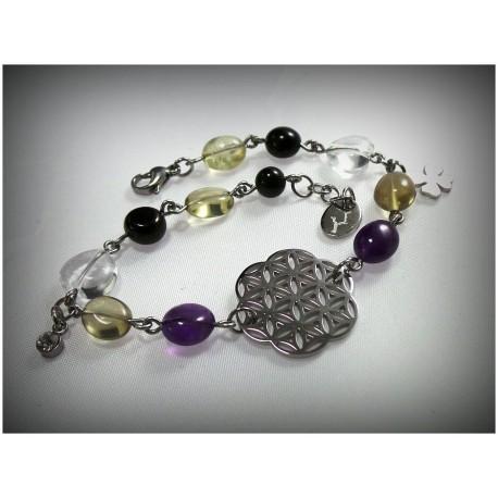 """Bracelet """"Fleur de Vie"""" en améthyste, citrine, cristal de roche et onyx."""