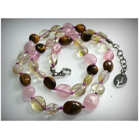 Collier pour enfant en oeil de tigre, quartz rose, citrine et quartz rutile